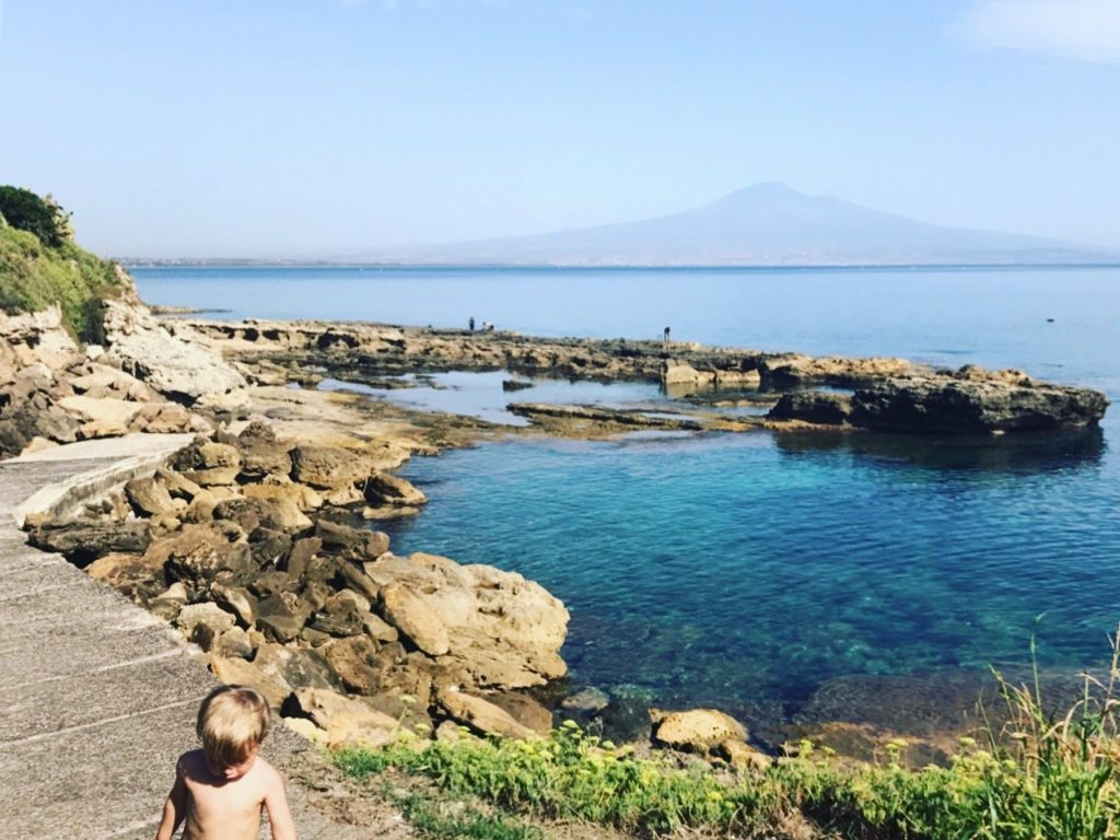 Our beach with Mt. Etna in the background