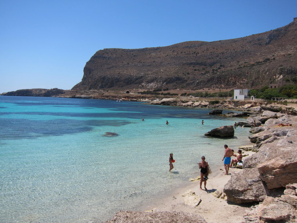 View of Marasolo beach in Favignana