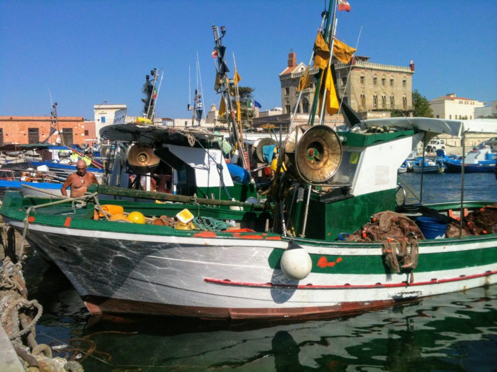 Fishing boats at the harbor of Favignana