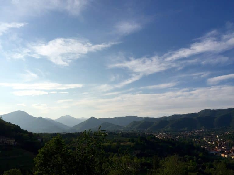 From Bergamo Alta, there is a stunning view of the Orobie mountains.
