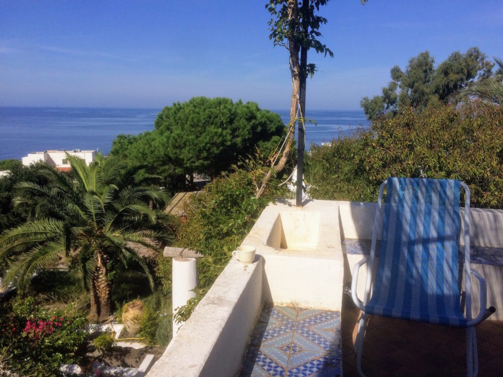 Our terrace in Malfa- Salina overlooking the Tyrrhenian Sea