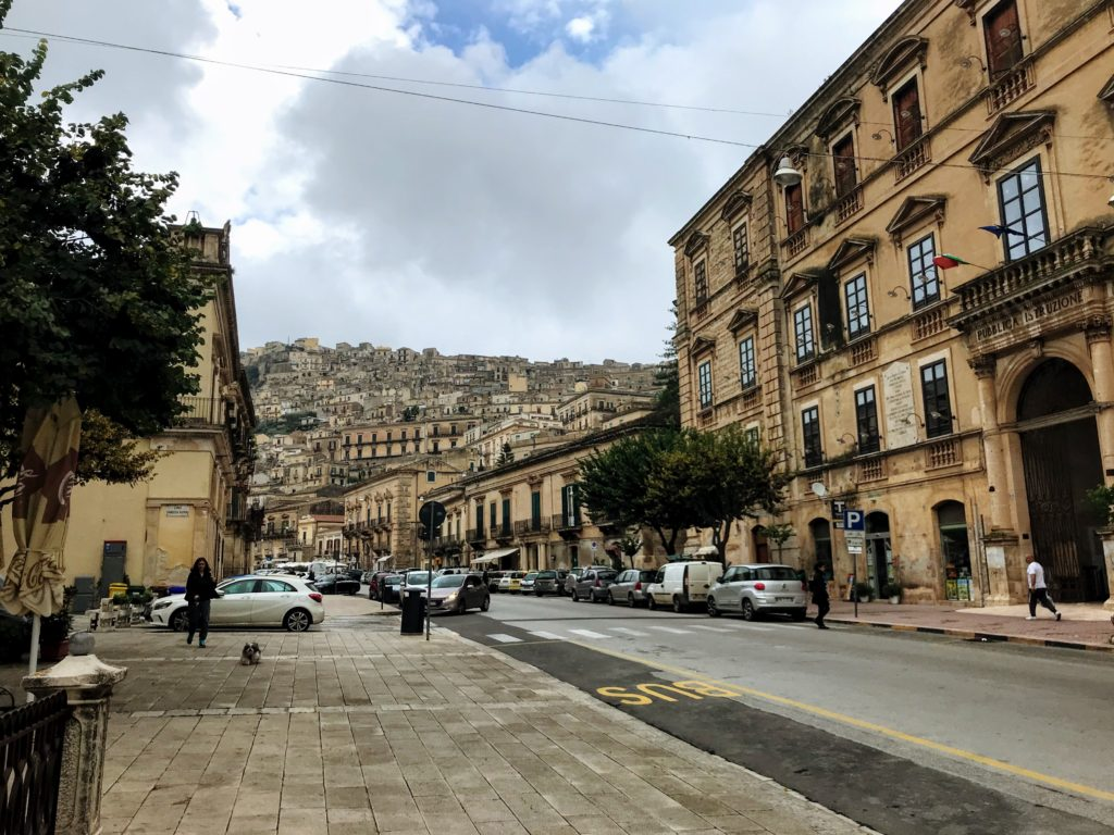 View to Modica Alta from Corso Umberto in Modica Bassa