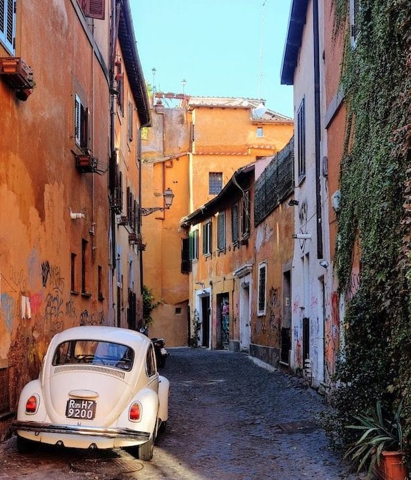 View of street in Trastevere, Rome