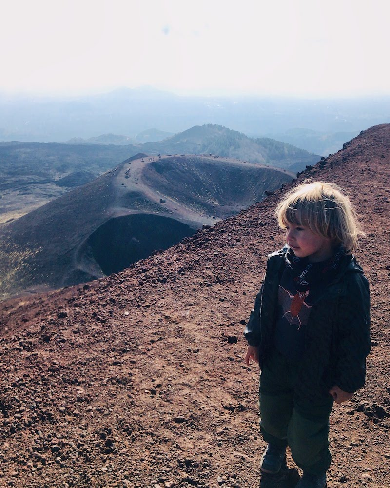 On top of the highest crater of Silvestri on Mount Etna