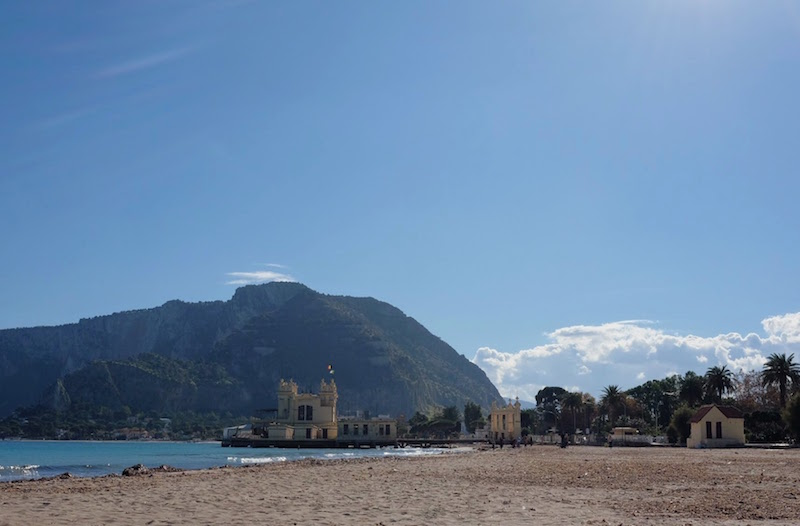 Mondello beach and view to Monte Pellegrino
