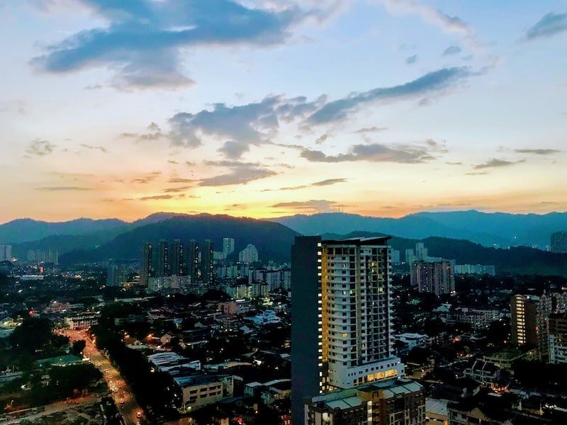 Evening over Penang, seen from 28th floor