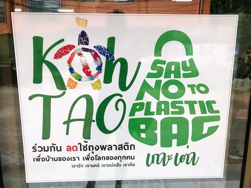 Say no to plastic sign at Koh Tao