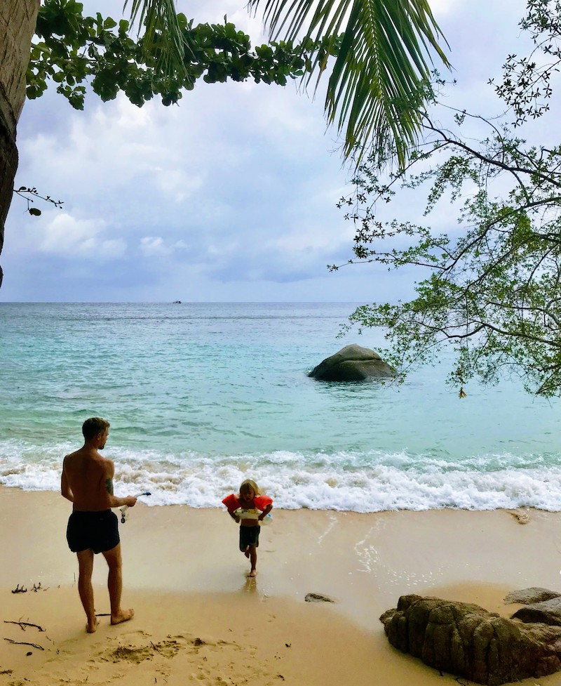 Snorkeling and swimming at June Juea beach Koh Tao