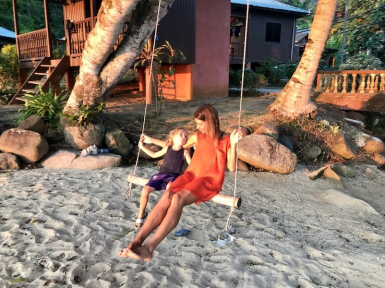 playing with the swing at Tioman beach
